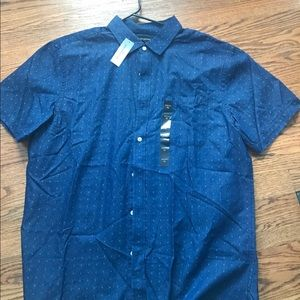 Banana Republic dark denim patterned shirt.
